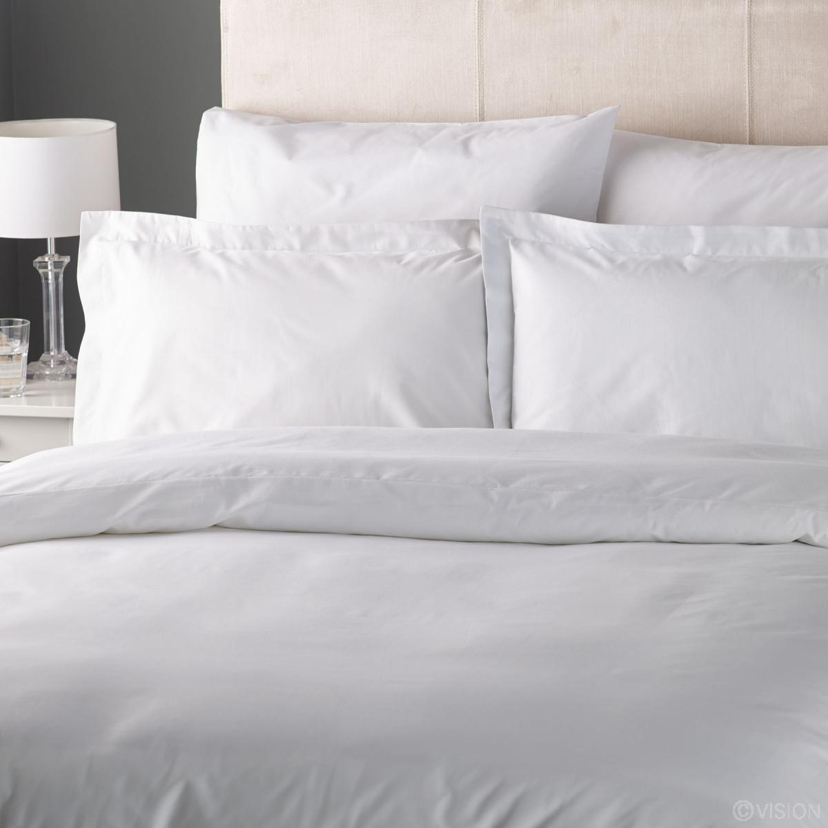 Fusaro white plain cotton rich duvet cover